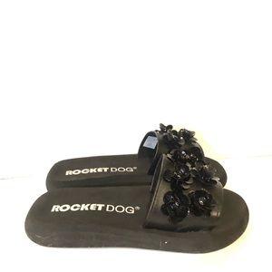 SALE 3 FOR 15 Rocket Dog Black Flower Slide Ons